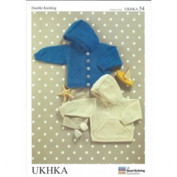 "UKHKA 54 DK Baby's Sweater and Jacket Knitting Pattern (16-26"")"